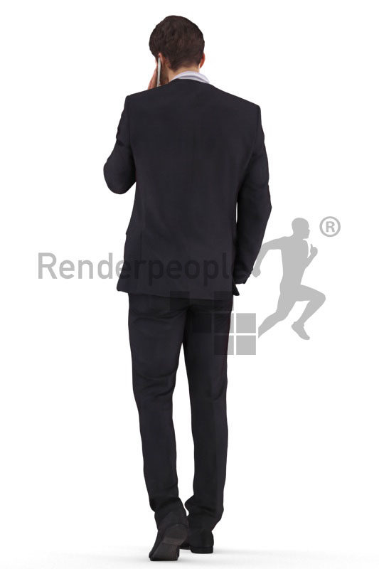 3d people business,3d white man, walking and calling
