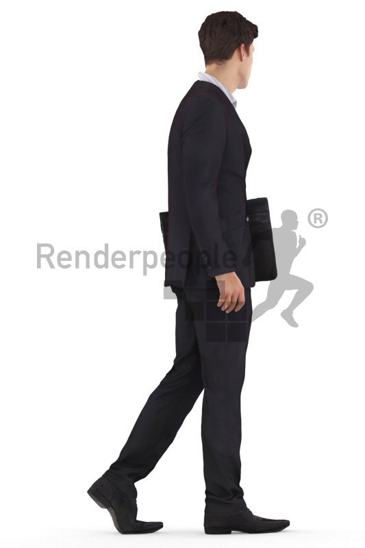 3d people business,3d white man, walking with office bag