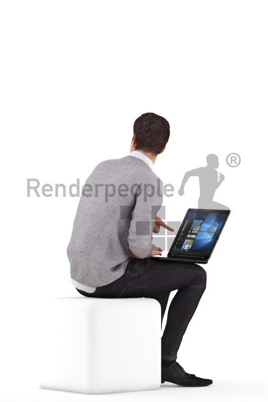 3d people business,3d white man, sitting with notebook, interacting