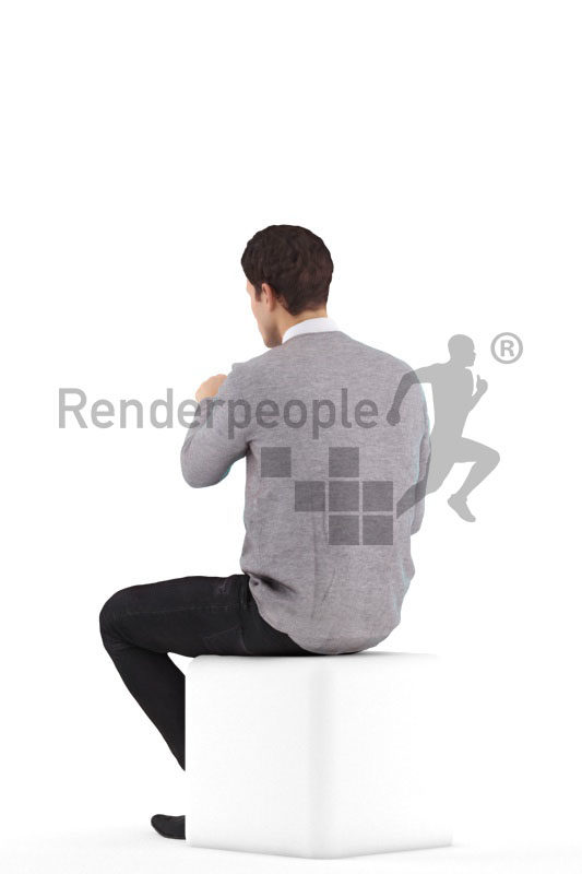 3d people smart casual, 3d white man, sitting and pointing
