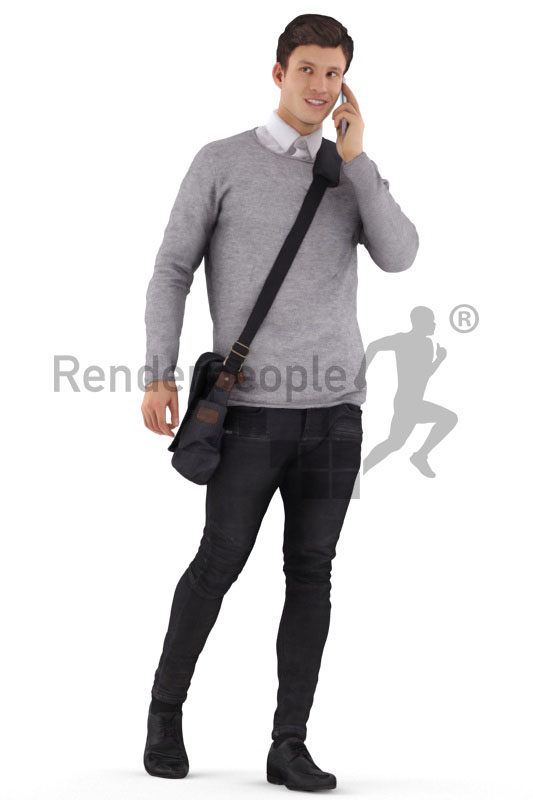 3d people smart casual, 3d white man, walking and calling