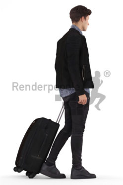 3d people casual, 3d white man walking with a trolley bag