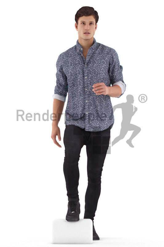 3d people casual, 3d white man walking upstairs