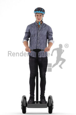 Photorealistic 3D People model by Renderpeople – european man on e-scooter, wearing casual shirt and helmet