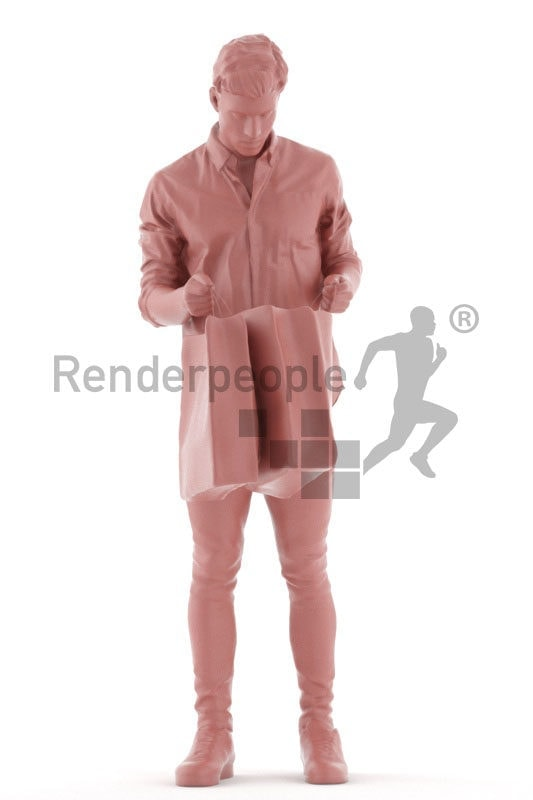3d people casual, 3d white man, looking into his shopping bags