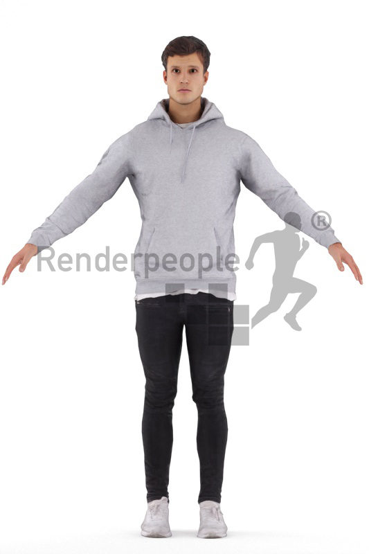 Rigged human 3D model by Renderpeople, white man, casual