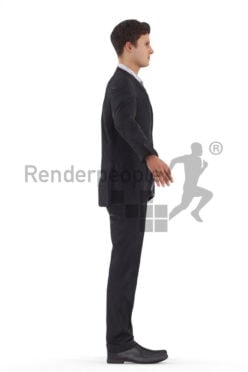 Rigged human 3D model by Renderpeople – European man in business suit