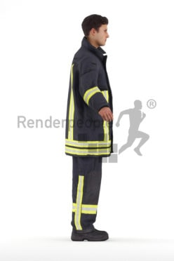 Rigged 3D People model for Maya and Cinema 4D – european firefighter