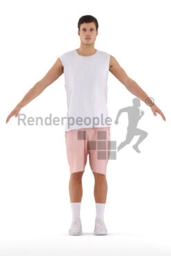 Photorealistic Rigged People model by Renderpeople – european man in casual sporty outfit