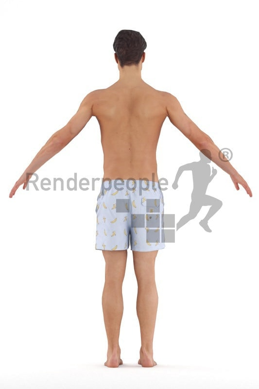 Rigged 3D People model for Maya and Cinema 4D – european man, swimm wear