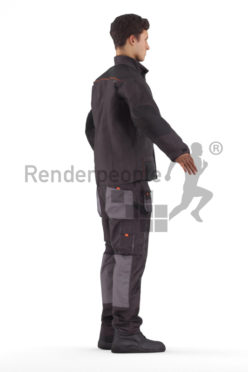 Rigged human 3D model by Renderpeople – european man in work wear