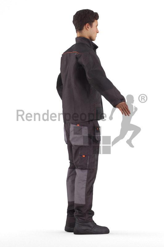 Rigged human 3D model by Renderpeople – european man in work wear