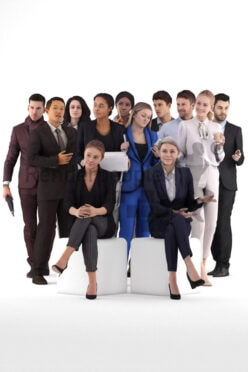 Posed 3D People model by Renderpeople – bundle, business standing, walking and sitting people