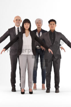 bundle of rigged business 3d people