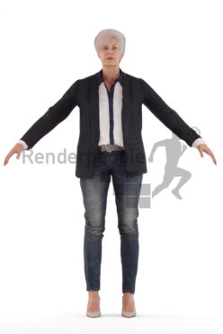 3d people business, rigged old woman in A Pose