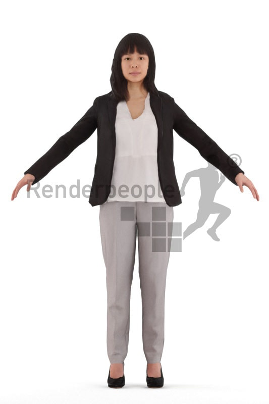 3d people business, rigged young woman in A Pose