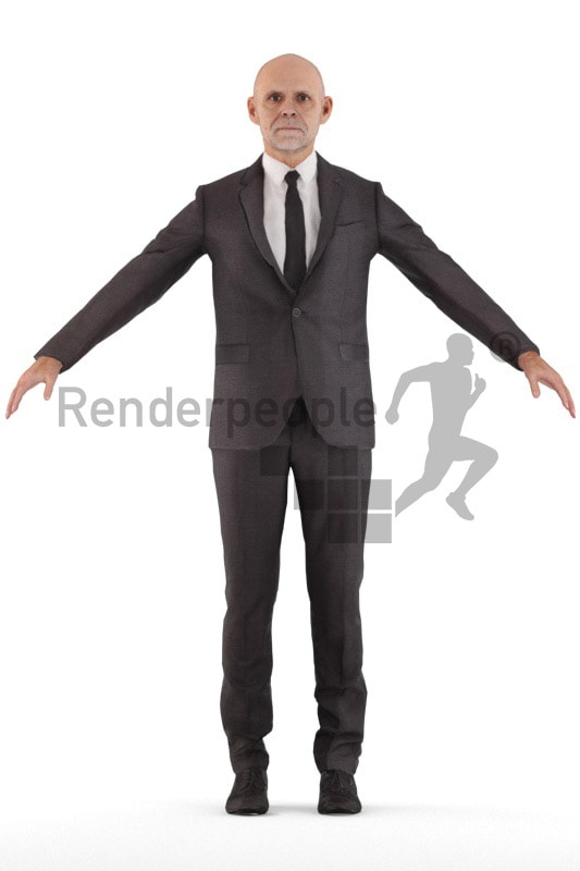 3d people business, rigged old man in A Pose