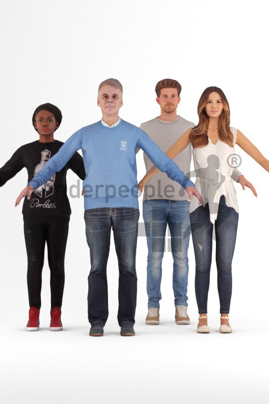 bundle of rigged casual 3d people