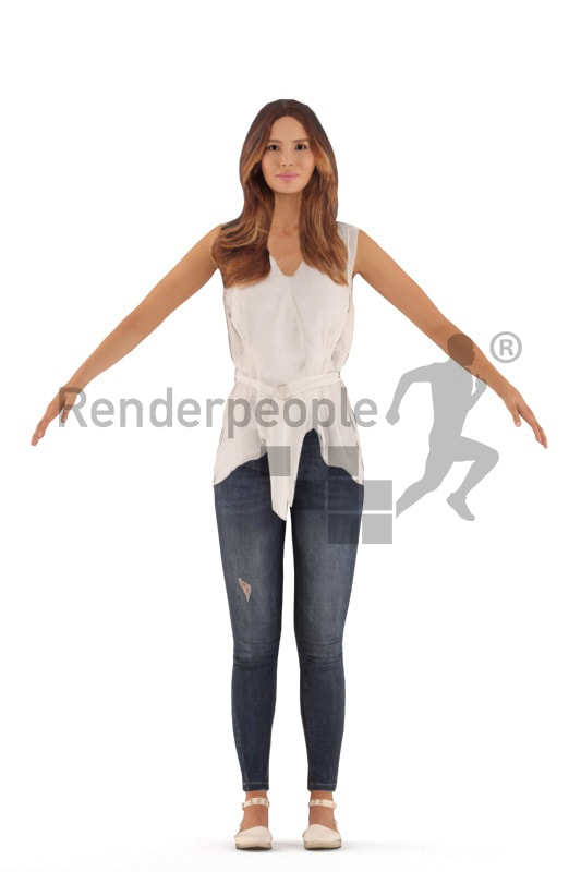 3d people casual, rigged young woman in A Pose