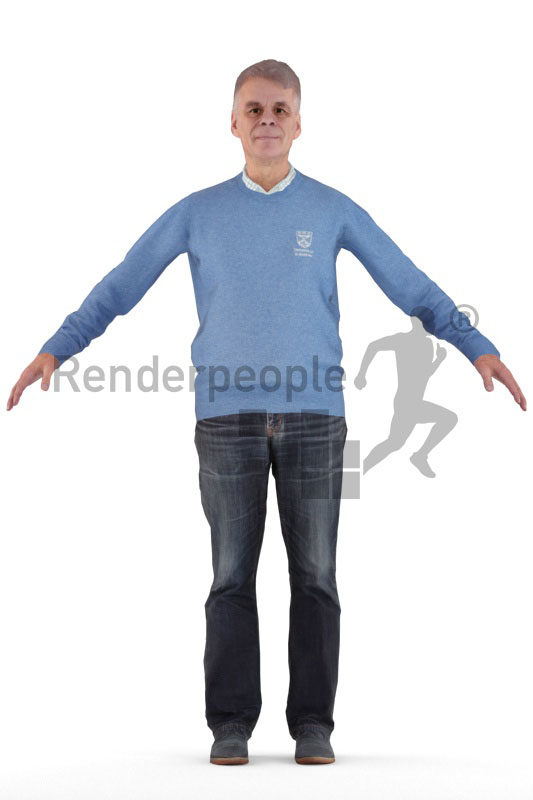 Rigged 3D People model for Maya and Cinema 4D – elderly white man in smart casual look