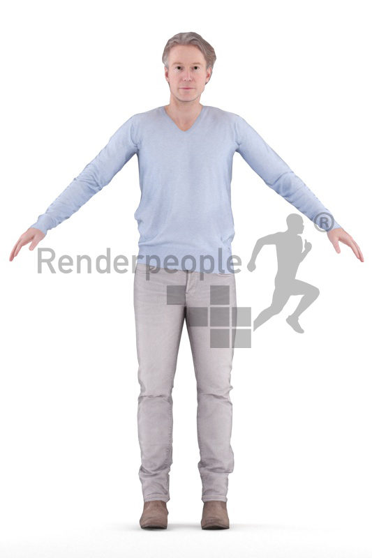 3d people casual, 3d elderly white man rigged