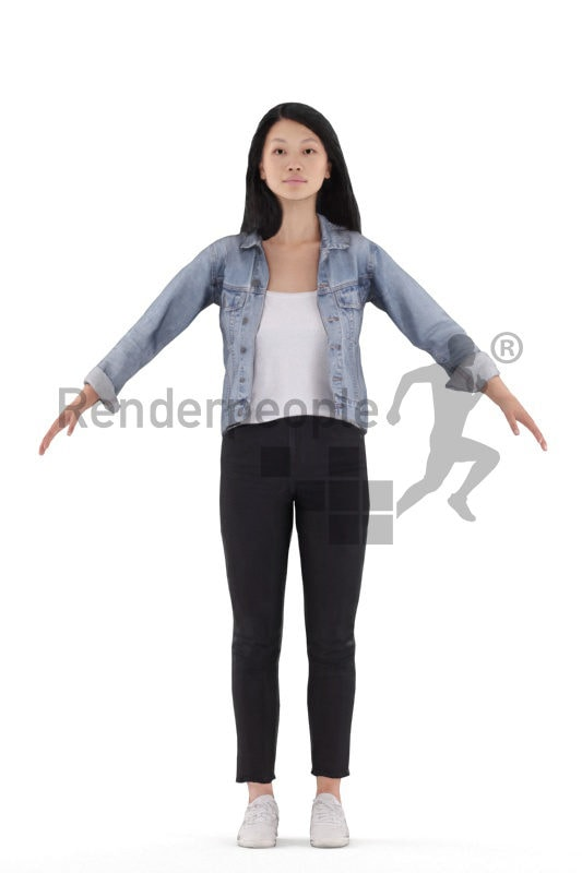 3d people casual, 3d asian woman rigged