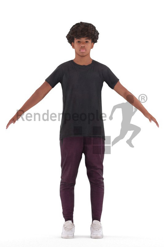 3d people casual, 3d black teenager rigged