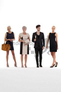 bundle of evening dressed 3d people