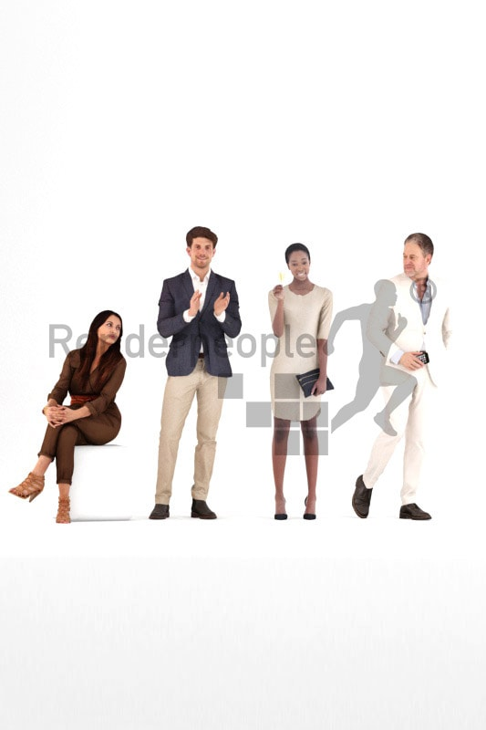 bundle of evening dressed 3d people