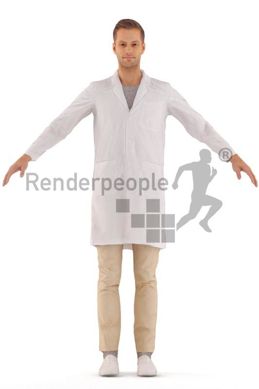 3d people healthcare, white 3d man rigged