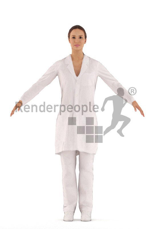 3d people healthcare, white 3d woman rigged