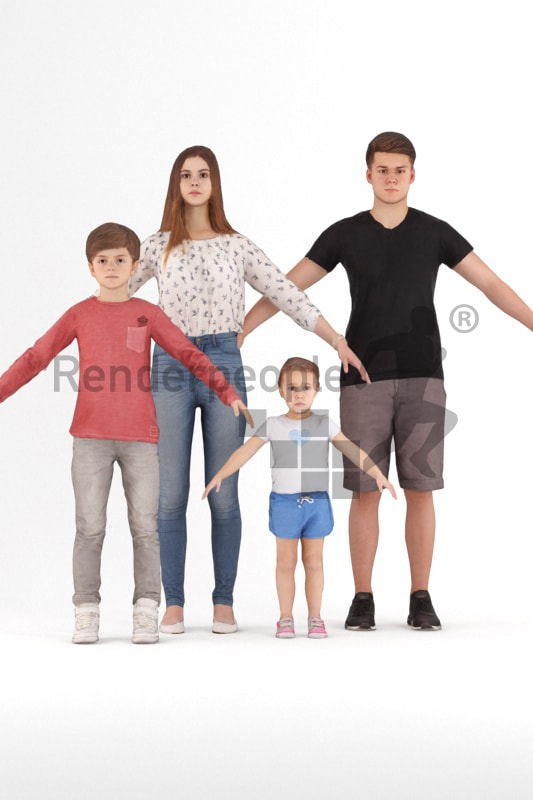 bundle of rigged kids 3d people