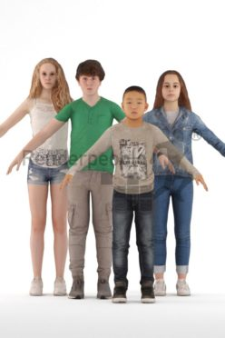 3d people bundle, rigged people in A Pose