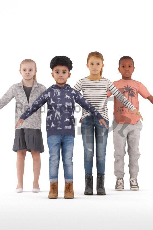 3d people casual bundle, 3d kids rigged