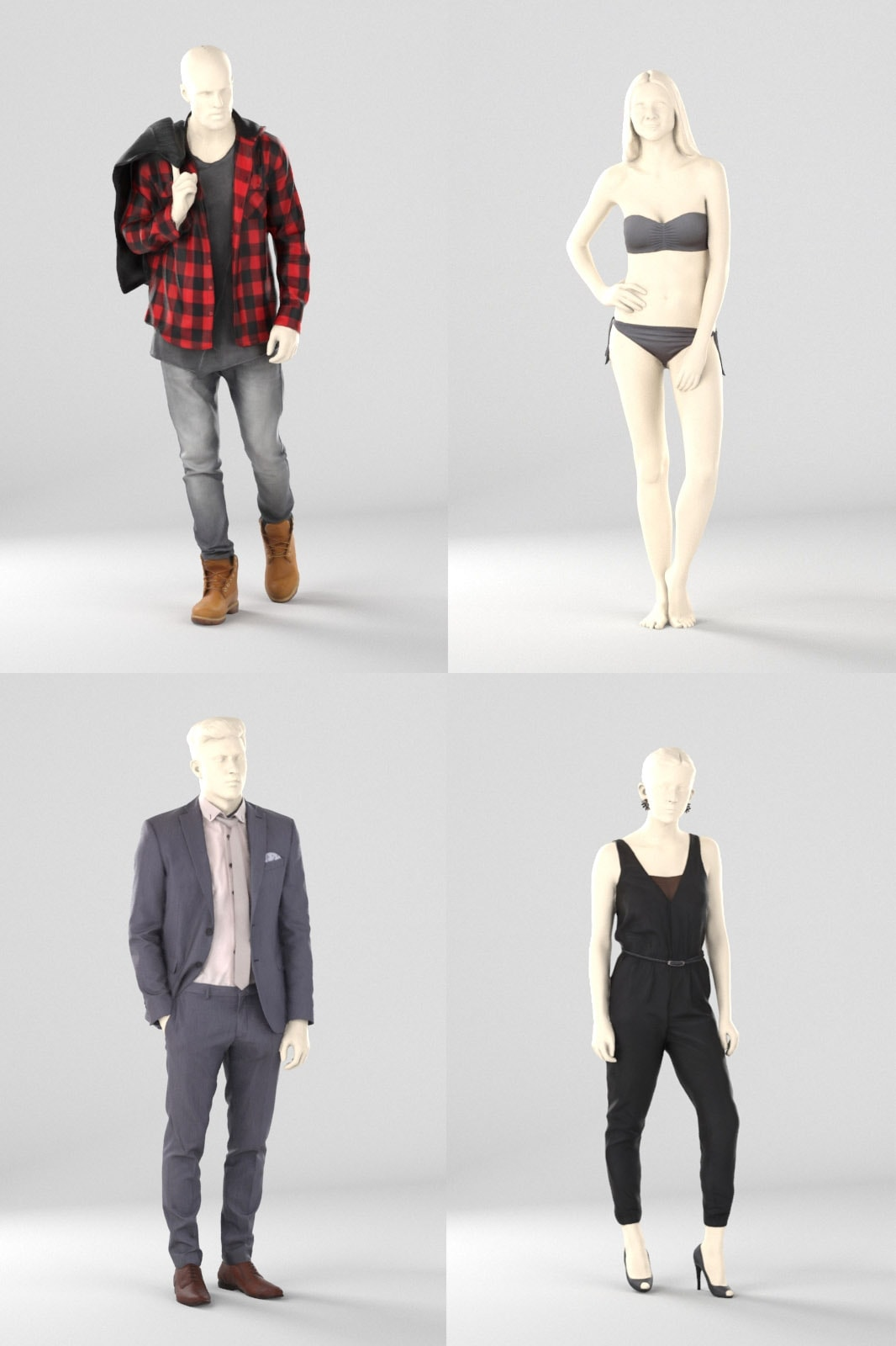 bundle of mannequins and display dummys, shopping 3d people