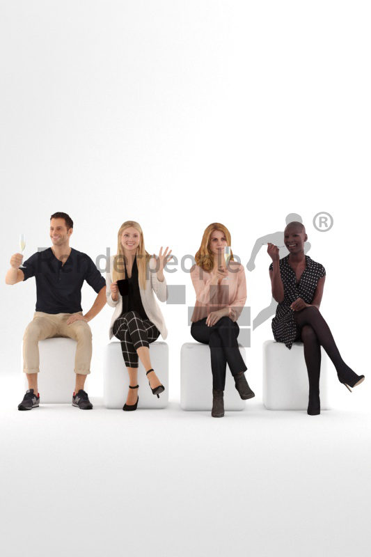 Posed 3D People model for visualization – Bundle, people in restaurants/gastronomy