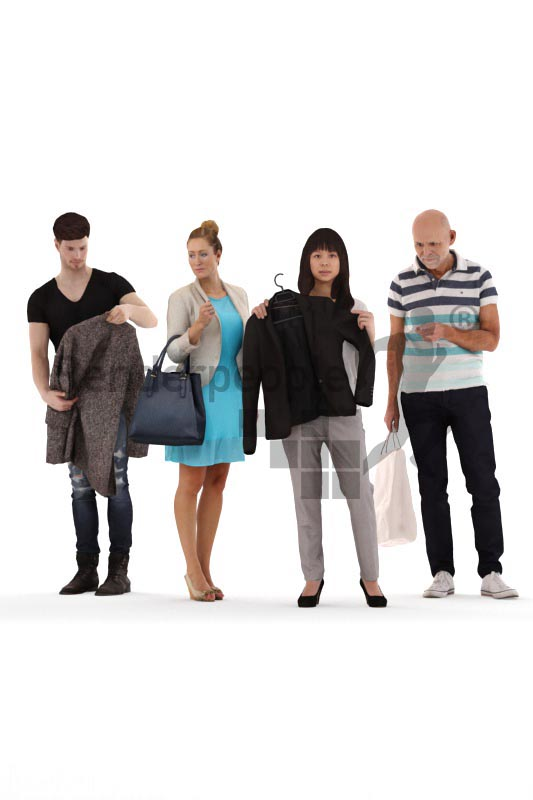 bundle of casually dressed. shopping 3d people