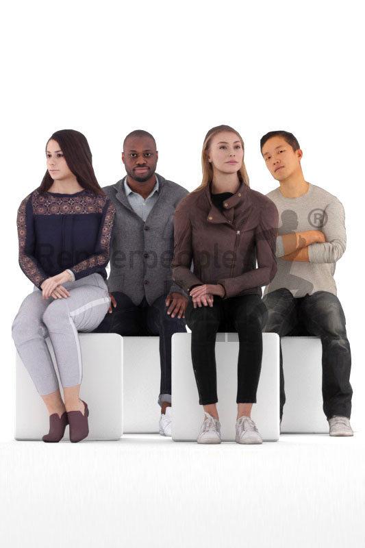 Animated 3D People model for visualization – bundle, sitting animated