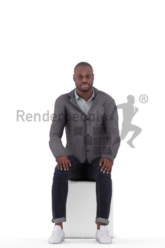 Animated 3D People model for realtime, VR and AR – black man in office look, sitting