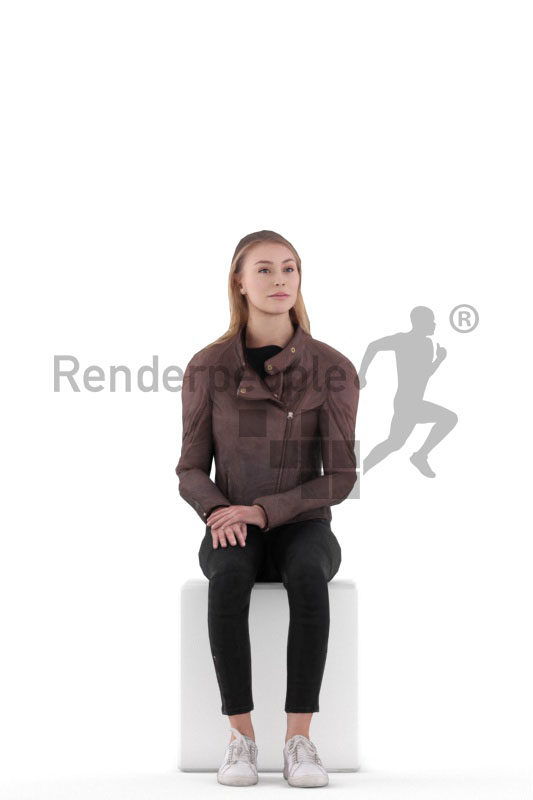 Animated human 3D model by Renderpeople – european woman in casual daily outfit, sitting and looking around