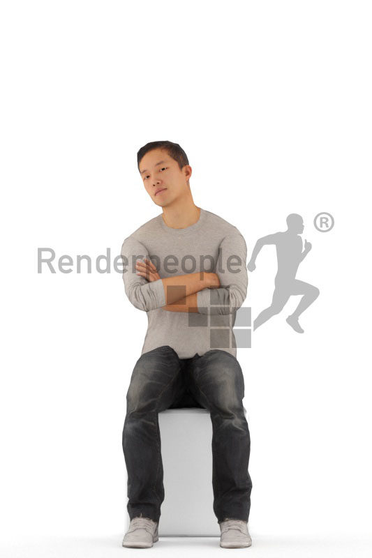 3D People model for animations – asian man in dauly outfit, sitting