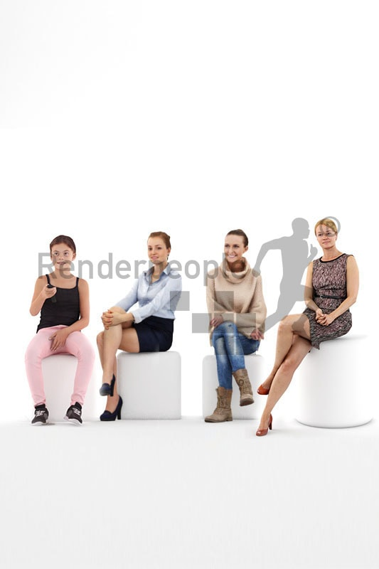 bundle of sitting 3d people