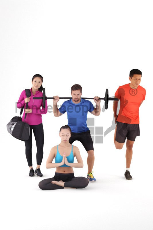 3D People model for 3ds Max and Cinema 4D – bundle, sports, gym