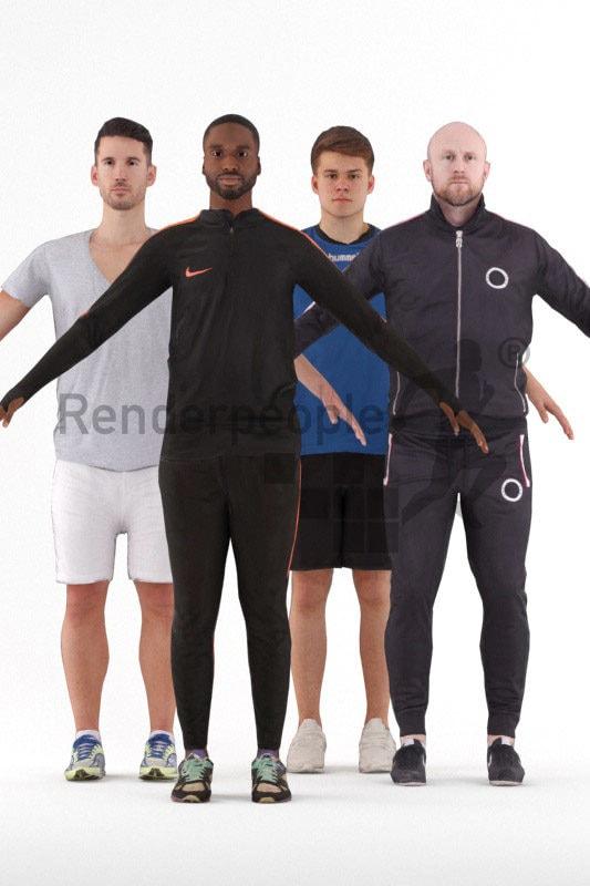 3d people sports, 3d man rigged bundle