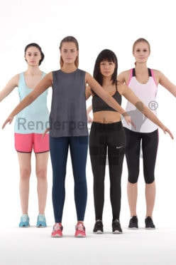 3d people sports, 3d woman rigged bundle