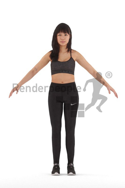 3d people sports, 3d asian woman rigged