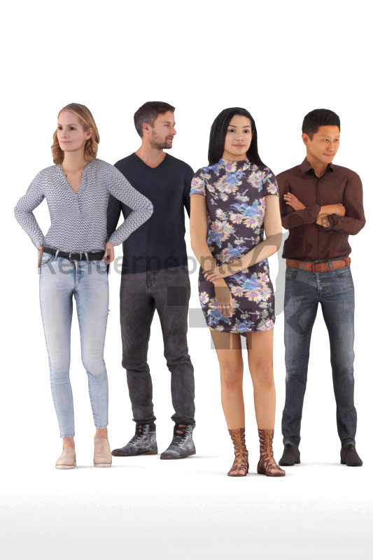 Animated 3D People model for realtime, VR and AR – bundle animated standing