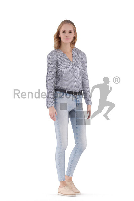 Animated 3D People model for 3ds Max and Maya – european woman in smart casual outfit, standing