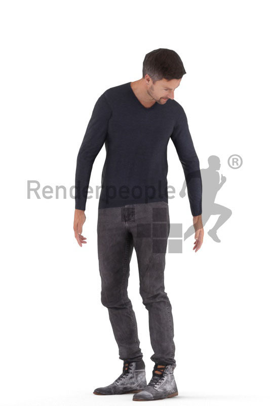 Animated 3D People model for Unreal Engine and Unity – european man in casual outfit, standing
