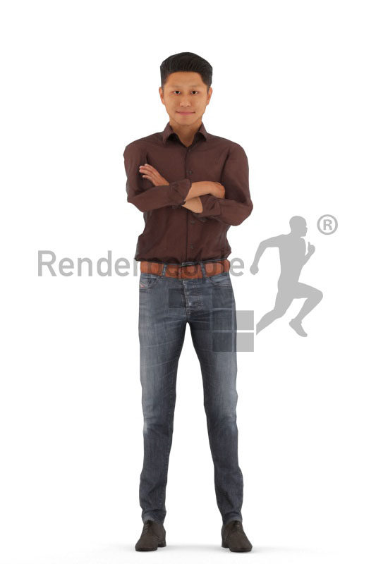 Animated 3D People model for Unreal Engine and Unity – asian man in smart casual outfit, standing